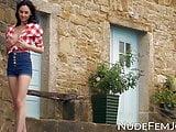 Slim beauty Sabrina strips to tease outdoors solo