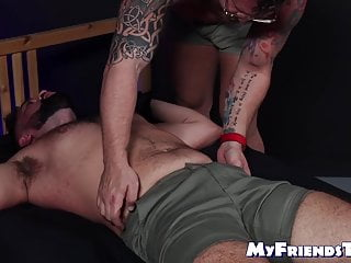 Submissive man dominated and tickled all over handsome body