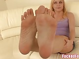 Amateur Teen Heather Gives First Footjob for Fucked Feet!