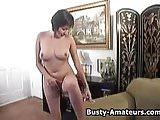 Busty amateur Vanessa masturbates her pussy