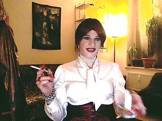 White satin lady playing...