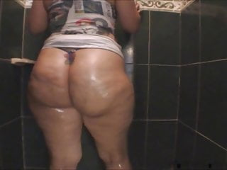 Ruby big oiled the shower...