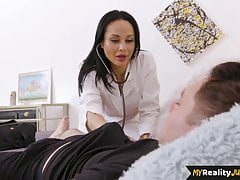 Gorgeous nurse blowing patient before sex