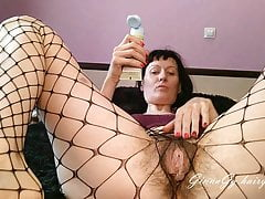 Review of a new toy in a big hairy pussy in fishnet pantyhose