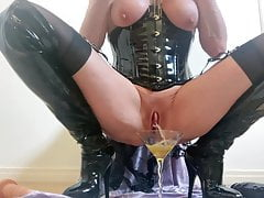 Slut pisses and drinks every chance she gets