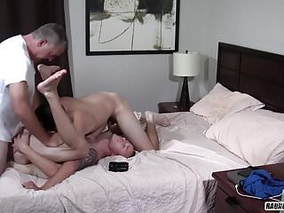 Twink rentboy bareback party with daddy...