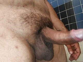 Throbbing cock in the shower