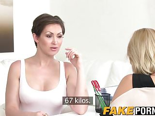 Hot female agent tries out a fresh sofa...