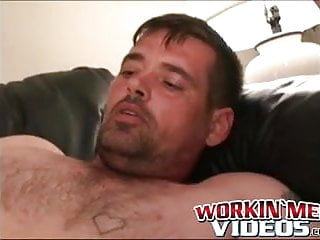 Rough strips and slowly tugs on his big...