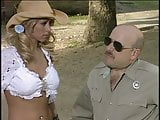 Blonde hottie banged by a policeman outdoors