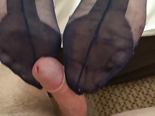 my wifes lovely nylon legs and feet 8