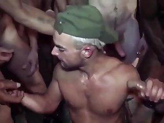 Interracial gay gangbang