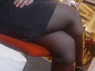 Candid Office lady in boots and black pantyhose in a expo