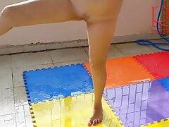 Naked yoga, Naked gymnastics, Nude Yoga, Shower outdoors, fitness