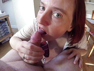 Slutty Schoolgirl Giving a Grade A Blowjob