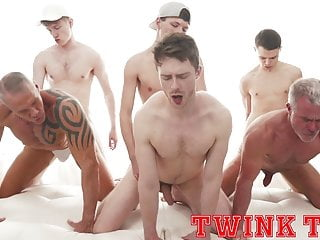 Hung twink tops fuck hot daddy ass in bareback group sex