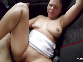 British cute smashed in car on public road before cumshot
