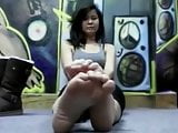 Asian Babe's sexy boot and sock removal