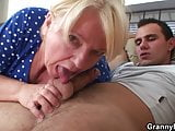 Busty blonde grandma spreads legs for a stranger