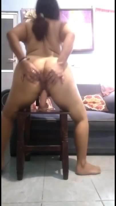 Big Ass Brunette Riding Dildo