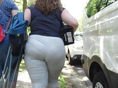 Brunette BBW panty wedgie in light gray yoga pants