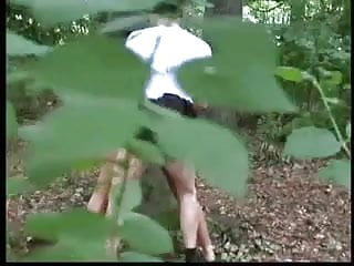 German teen couple fucking in the woods