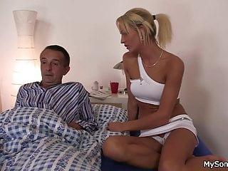 blonde woman younger man seduces Older