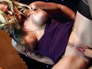 Busty blondes lick and suck the same stick before fucking