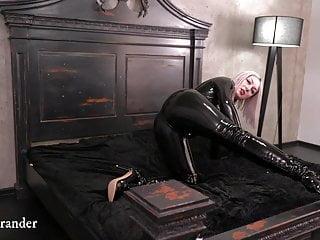 Black Latex Rubber Catsuit Video Arya Grander Fetish Model