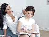 Passionate lesbian sex with Kyra Queen and Veronica Moore on