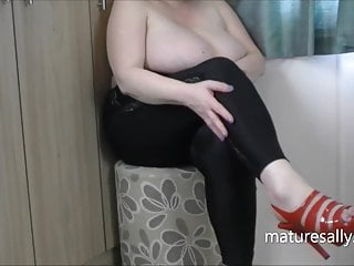Sally in see-through top and black leggings