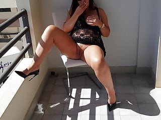 Masturbate on the balcony