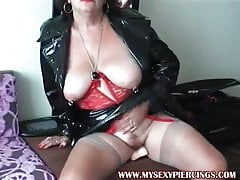 My sexy granny with piercings, pierced pussy in public