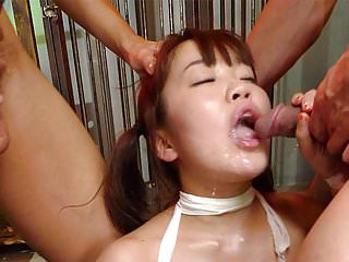 Gorgeous Asian redhead is bandaged and gangbanged like a slu