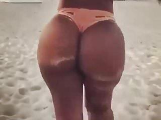 Ebony babe beach...