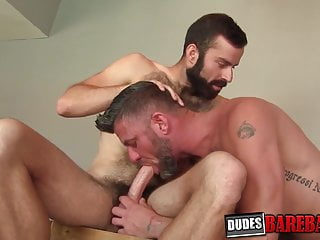 Christian Harry fucks hairy hunk bareback hard from behind