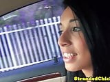 Petite hitch hiking babe goes down on guy