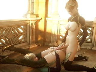 Two elven hermaphrodite babes fuck...