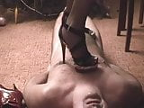 slave cums under extreme high heel nipple torture