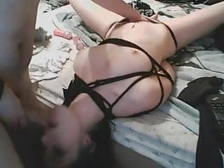 Wife in tied up fucked by hubby bdsm...