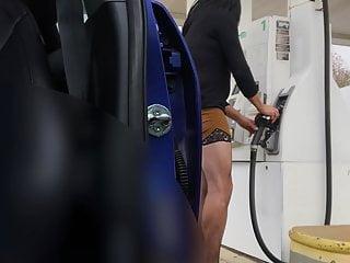 Crossdresser getting gas Public outdoor teasing