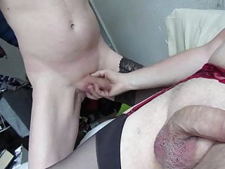 Throating crossdresser cock...