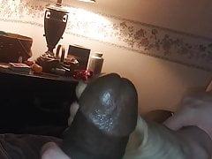 Slapping dick on dirty feet