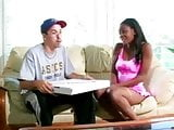 Gorgeous Ebony Girl and Lucky Pizza Delivery Guy