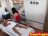 Oriental masseuse sucking cock and fucking