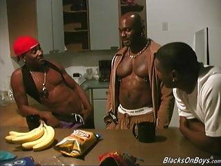 Three black dudes sharing guy...