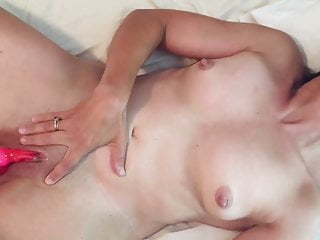 Natural MILF with vibe, fucking and swallowing.