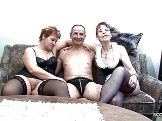 Two German Grandmas at Real FFM Threesome Porn Casting Sex