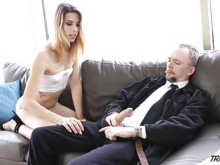 Young tgirl pays rent with her ass and...