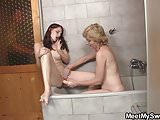 Teen riding old cock after pussy toying in the bathroom